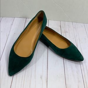 J. Crew green suede pointed flats